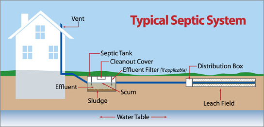 What is a septic system and how does it work crystal for Sewer system diagram